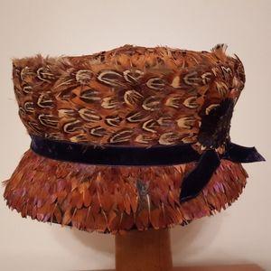 Vintage feather bucket hat